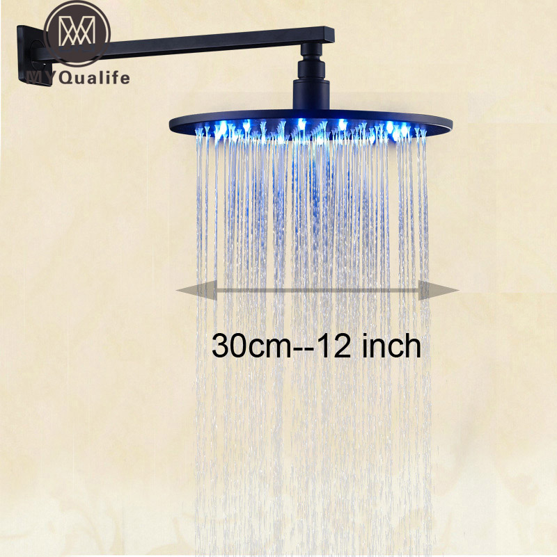 Wall Mount Brass Shower Arm 12 Rain LED Light Shower Head Oil Rubbed Bronze luxury led color changing 12 square rainfall shower head with brass wall mount shower arm oil rubbed bronze