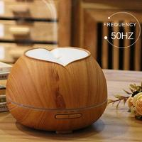 400ML Ultrasonic Air Humidifier Wood Grain Aroma Essential Oil Diffuser With 3 Color Flash LED Night