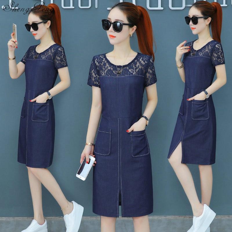 2018 été denim robes femmes jeans décontractés robes d'été coréen avec poche déchiré denim bleu robe pour femme V956