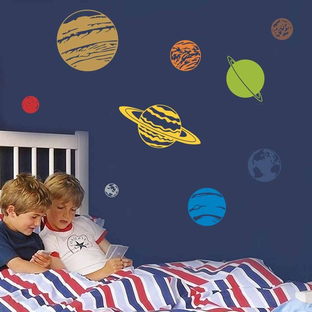 Colorful Planet Decal Solar System Color Wall Sticker For Kids Rooms Nursery Removable Wallpaper Diy