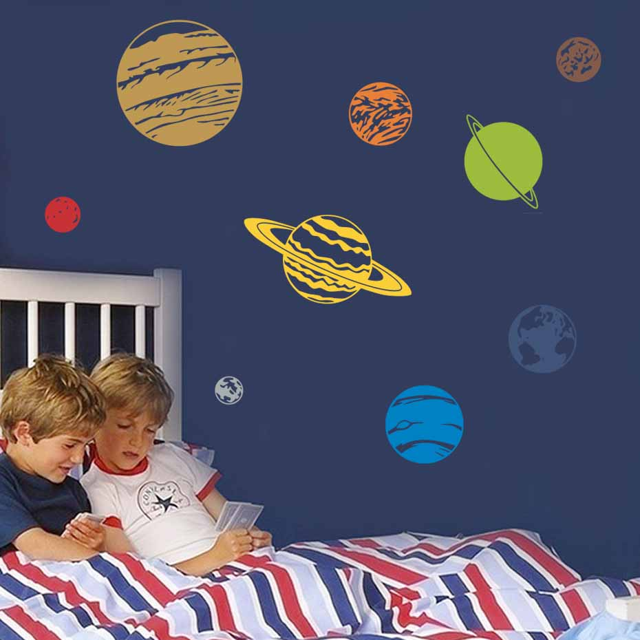 Colorful Planet Decal Solar System Color Wall Sticker For Kids Rooms Nursery Removable Wallpaper Diy Wall Art Decals Home Decor