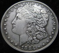 FREE SHIPPING wholesale Morgan1884-CC coins plated-silver Coin Copy 90% coper manufacturing old+f