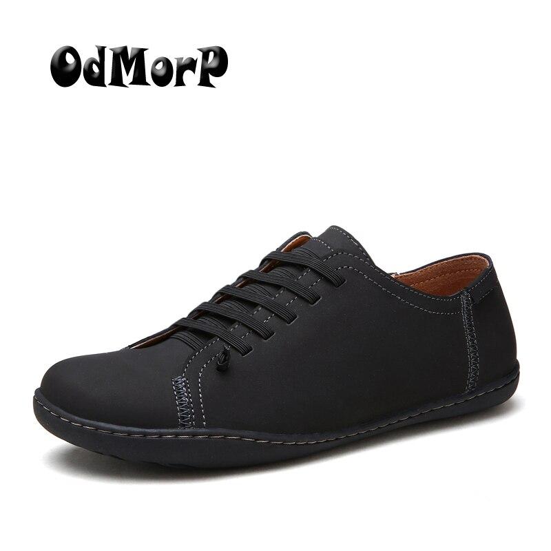 ODMORP Hommes Chaussures de Design De Mode En Cuir Décontractée Chaussures Hommes Appartements Glissent Sur Mocassins Confort Léger Chaussures À La Main