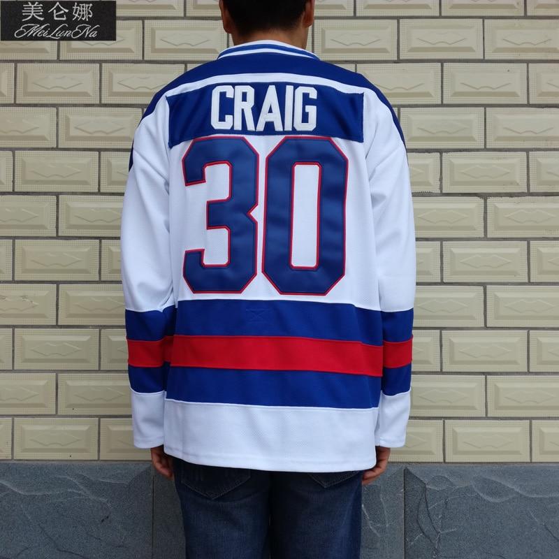 MeiLunNa Christmas Black Friday 1980 Miracle On Ice Team USA #30 Jim Craig White Hockey Jersey 3002