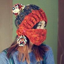Женщины Зима Теплая Густая Шапка с Маска Мода Ручной Вязаная Шапка Шапки