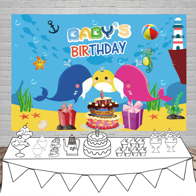 Laeacco Baby Shark Birthday Party Cake Gift Cartoon Bubble Ball Poster Portrait Photo Backgrounds Photo Backdrops Photo Studio