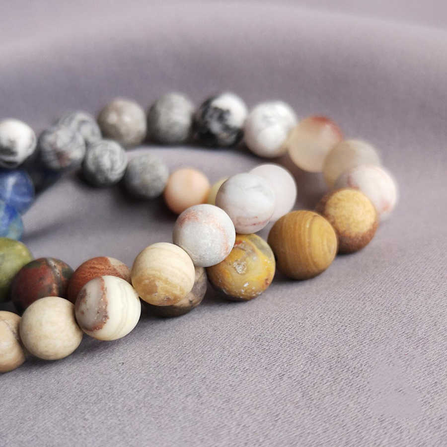 10 mm Matte Frosted Amazonite beads Bracelets Eight planets in the universe Natural stone bracelet