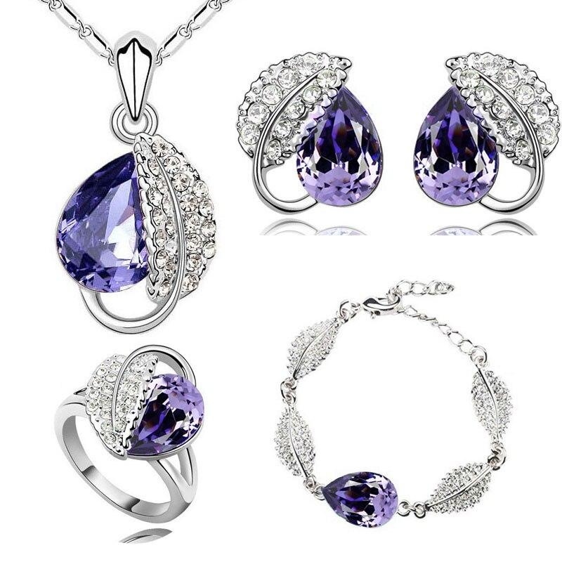 summer life leaf pretty water drop women oceanblue Crystal Pendant Jewelry Sets necklace earrings 2 in set 84172