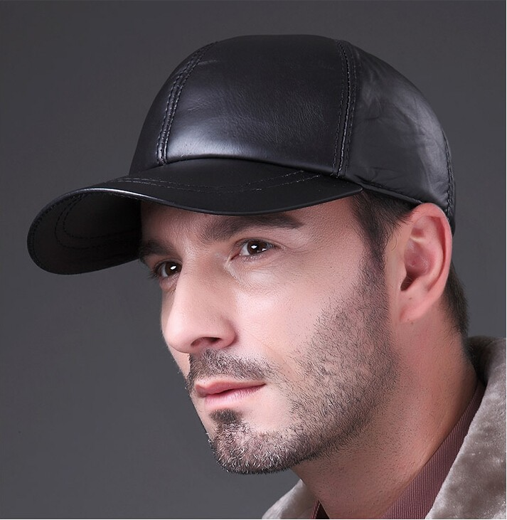 Man Wearing the Deluxe Leather Adjustable Black Baseball Cap