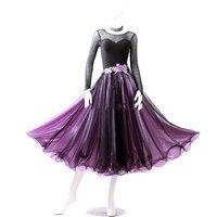 Good Modern Dance Dresses For Ladies Purple Coffee Fabric Dresses Professional Women Feminine Ballroom Competitive Garment N4012
