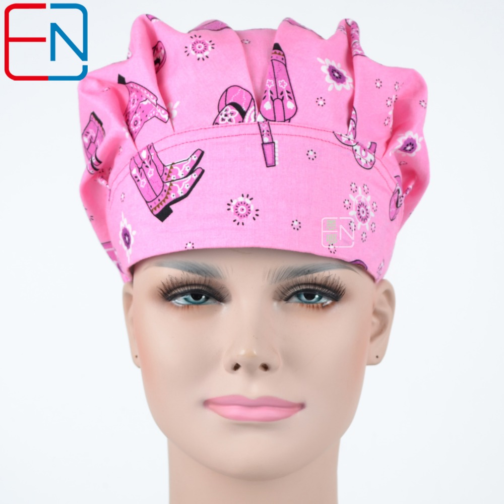 Hennar Womens Scrub Caps Bouffant 2018 Newly Cotton Scrub Caps Hospital Medical Accessories Printed Elastic Doctor Surgical Caps