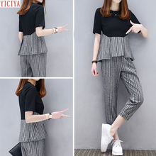 Plus Size Large 2 Piece Sets Womens Outfits Summer Striped Pants Suits and Top Tracksuit Sportswear Fitness Co-ord Set Clothing