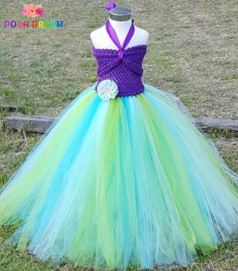 POSH DREAM Mermaid Kids Girl Dress  Princess Mermaid Flower Girl Tutu Dress Under The Sea Photo Prop Beach Birthday Theme Party