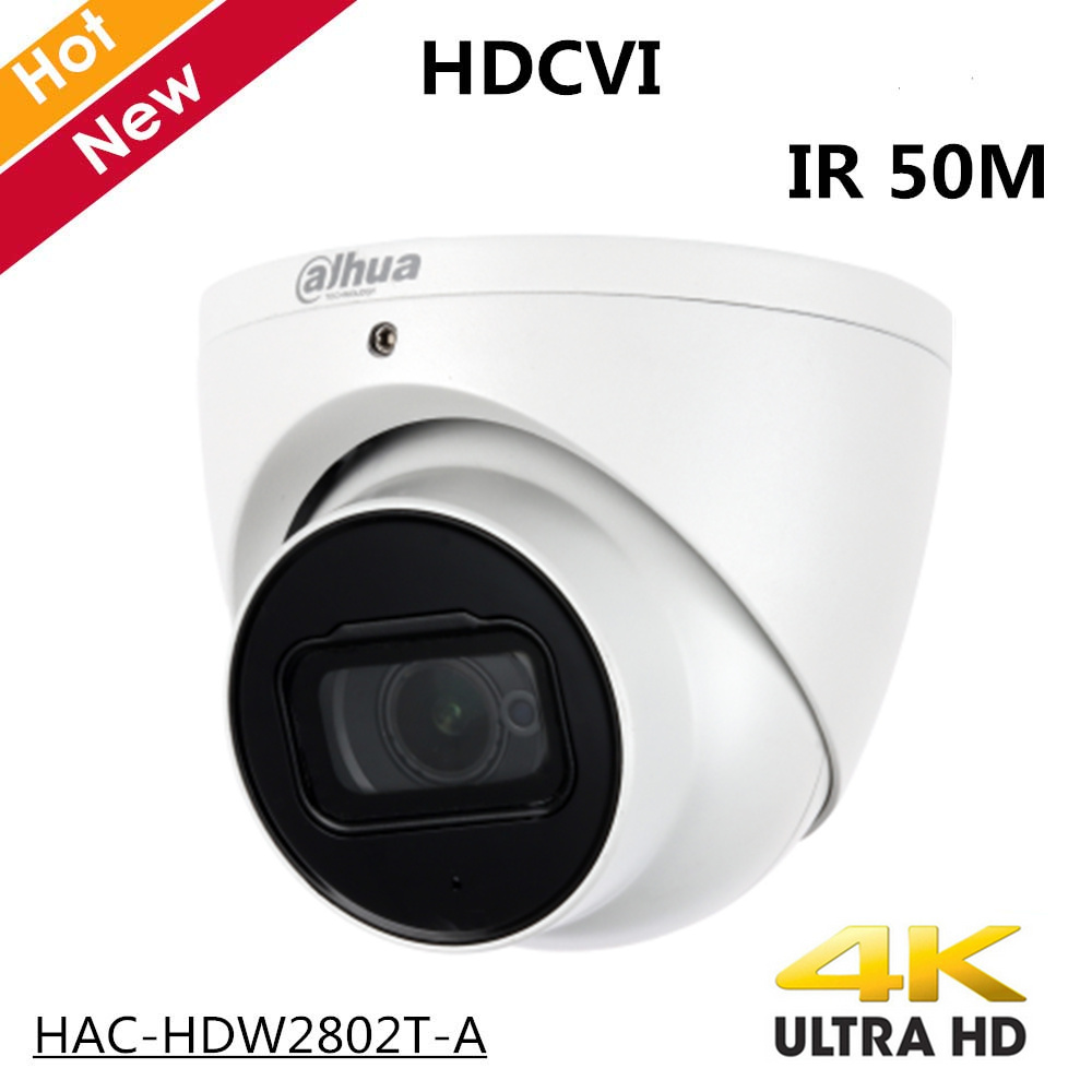 4k Dahua Outdoor Indoor HDCVI Camera HAC-HDW2802T-A 4K Starlight HDCVI IR Coaxial CCTV Camera 3.6mm Fixed Lens IR 50m IP67