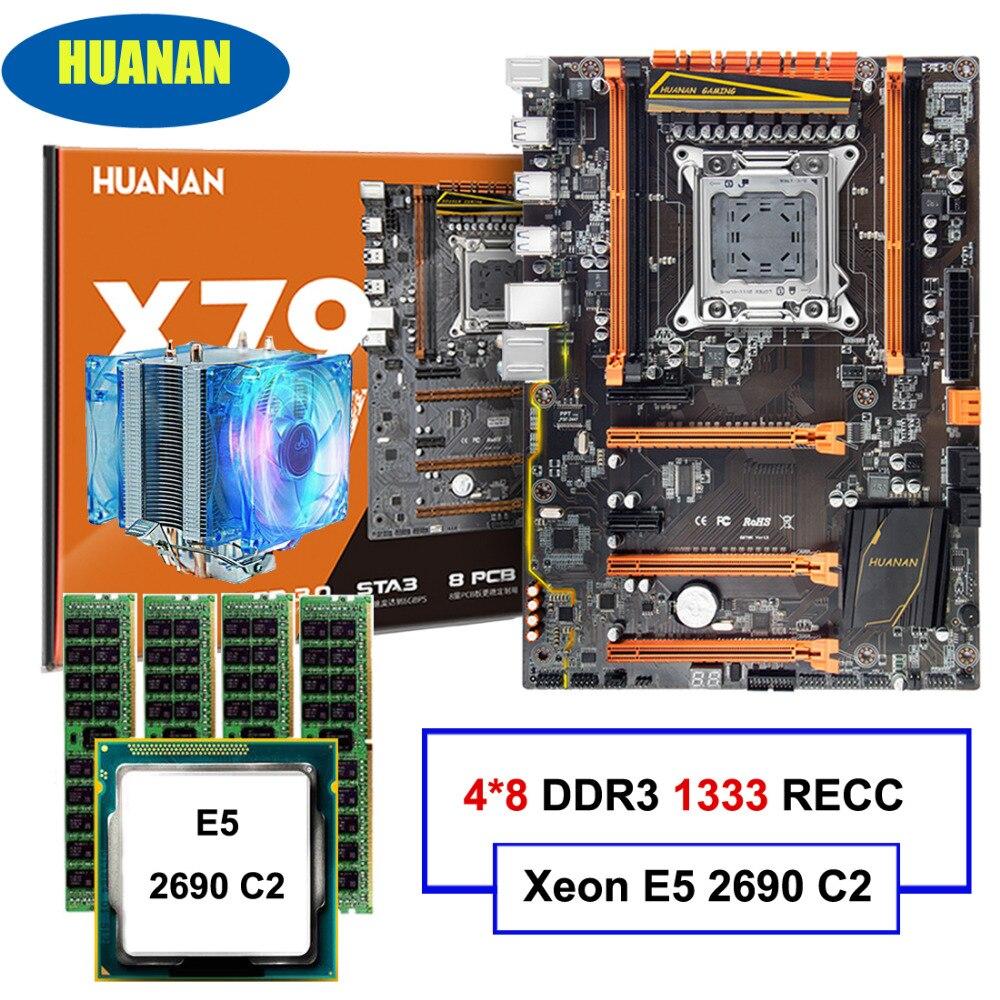 HUANAN deluxe X79 LGA2011 материнской Процессор Оперативная память комбинации Xeon E5 2690 C2 с охладитель Оперативная память 32 г (4*8 г) DDR3 1333 мГц RECC все хорошо...