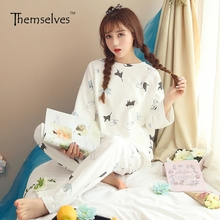 Women's Cotton Pajamas Spring Summer Home Suit Sleepwear Pajama Sets Long Sleeve Pajamas for Women Cotton Can Be Worn Outside