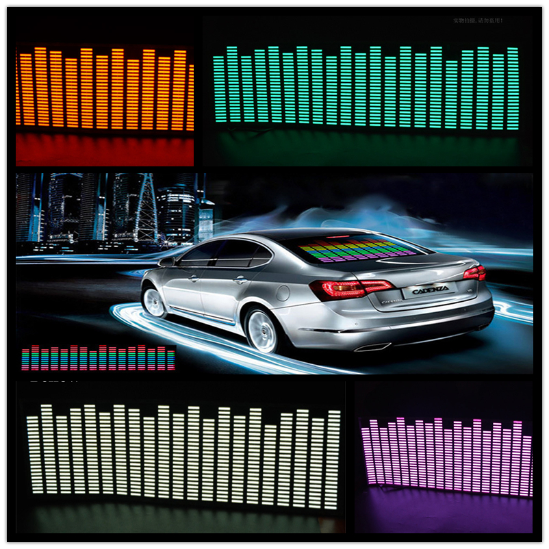 OKEEN New 70*16cm car sticker music equalizer light  Sound Rhythm Car Sticker Flash Colorful Music Equalizer on Car Accessories