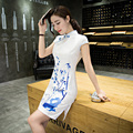 Summer Women's Classic Short Sleeve Flower Dress Chinese Style Female Satin Qipao Sexy Slim Short Cheongsam Size S M L XL XXL