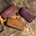 2017 New Style Handmake Women Wallet Genuine Leather Carving Vintage Purse Long Design Cultch Wallet
