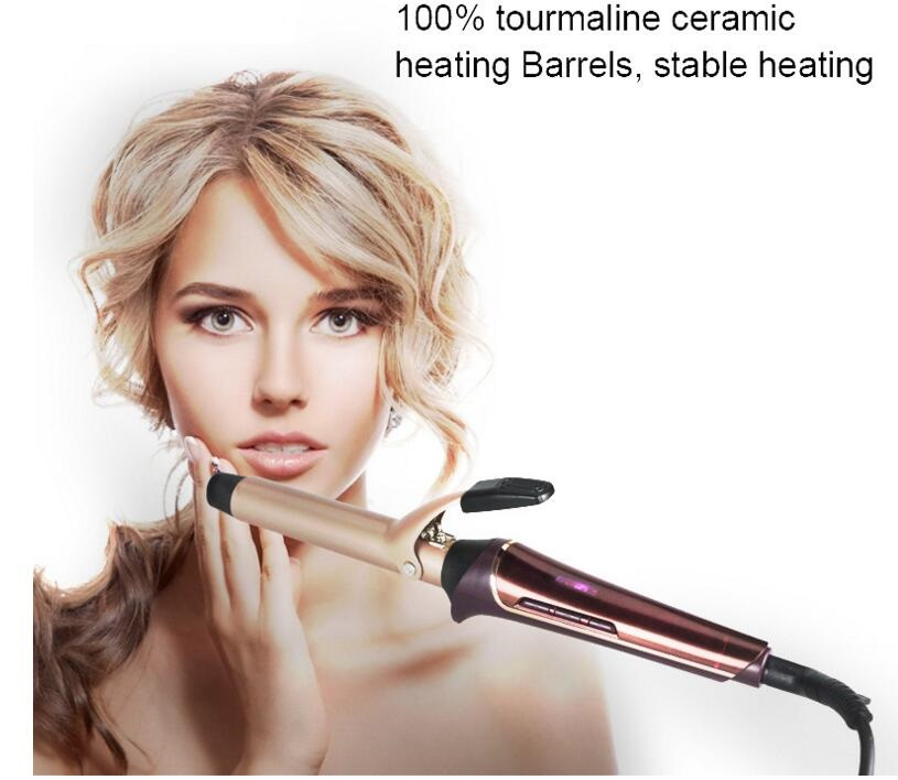 professional electric heating hair curling iron roller wave styler wand ceramic hairdressing styling curly cone barrel waving temperature controller dodo l 1313d double voltage high quality black ceramic fast heating hair curling iron double wand roller