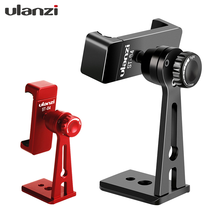 Ulanzi ST-04 Tripod Clamp Mount Smartphone Holder Mount Adapter w Bluetooth Remote Shutter Live Tripod for iPhone Android Mobile