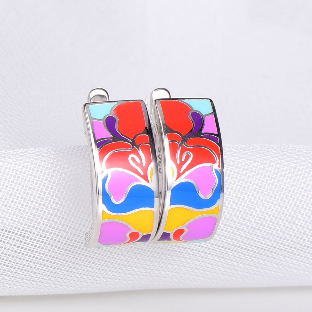 RainMarch Bohemian 925 Sterling Silver Earring For Women Enamel Flower Earring Cubic Zirconia Handmade Wedding Party Jewelry hot brand pure 925 sterling silver jewelry for women gifts bowknot earring 5a cubic zirconia bowknot stud earring party jewelry