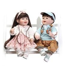"""NPK DOLL 56cm/23"""" real Silicone Reborn Dolls Lifelike Baby Twin brothers and sisters Newborn cute Doll toys for girl boy gift"""