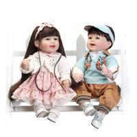 NPK DOLL 56cm/23'' real Silicone Reborn Dolls Lifelike Baby Twin brothers and sisters Newborn cute Doll toys for girl boy gift