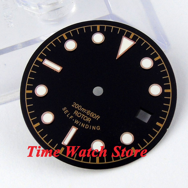30.4mm black sterial dial luminous rose Gold marks Watch Dial fit 2824 2836 Automatic Movement D24