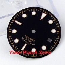 30.4mm שחור sterial חיוג זוהר עלה זהב סימני שעון חיוג fit 2824 2836 אוטומטי תנועה D24