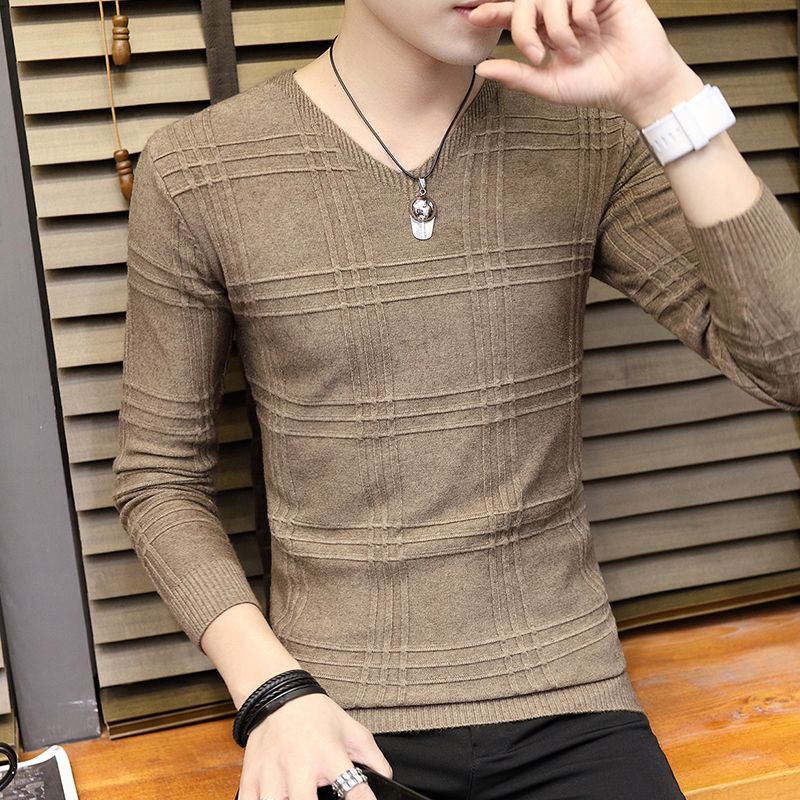 2020 Men's  Thin Section V-neck  Sweater Fashion Personality, Cultivate One's Morality Type Render Unlined Upper Garment Sweat