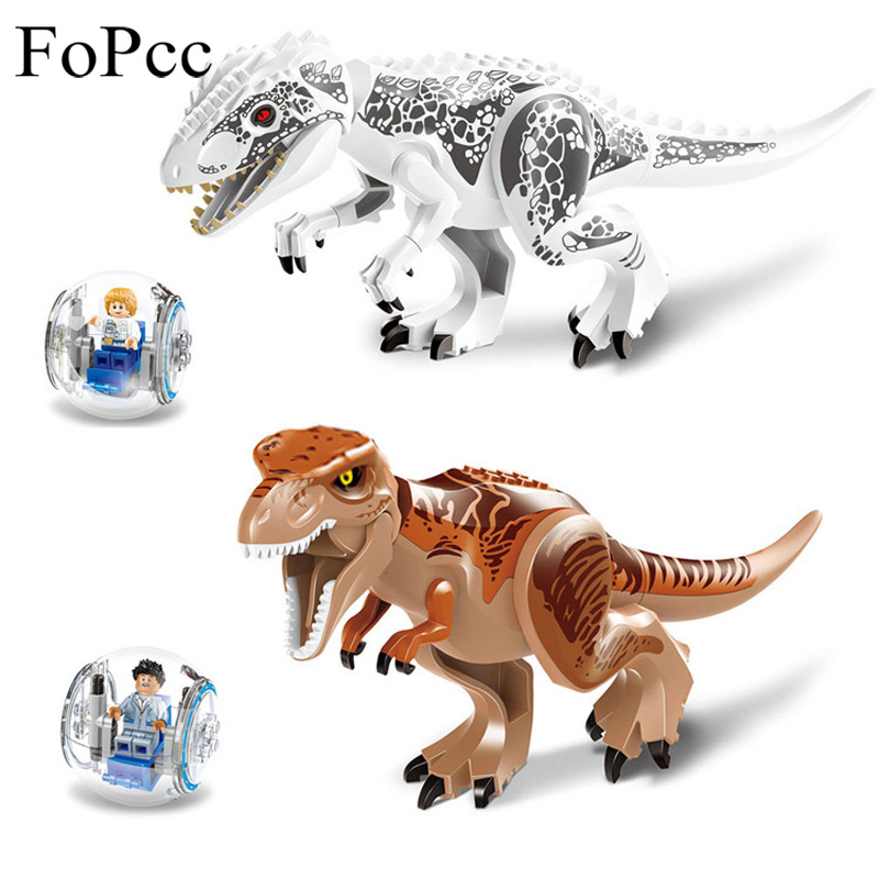 FoPcc 2Pcs/Sets 79151 Jurassic Dinosaur World Figures Tyrannosaurs Rex Building Blocks Compatible With Dinosaur Toys Legoings ye 77011 super heroes avengers assemble jurassic dinosaur world figures tyrannosaurs rex building blocks diy toys kids gifts page 4