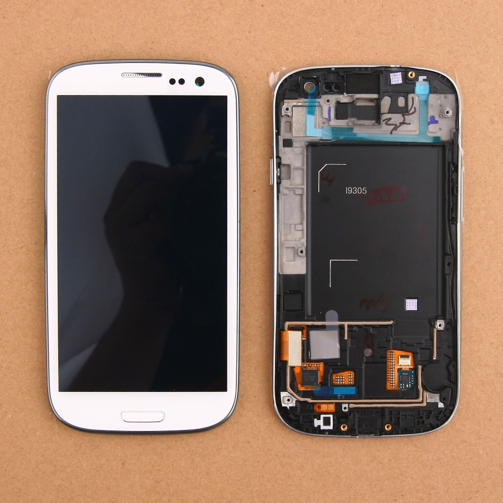 ФОТО 10pcs/lot Free shipping LCD Display Touch Screen Digitizer With Assembly Frame Bezel For Samsung Galaxy S III S3 i9305 White