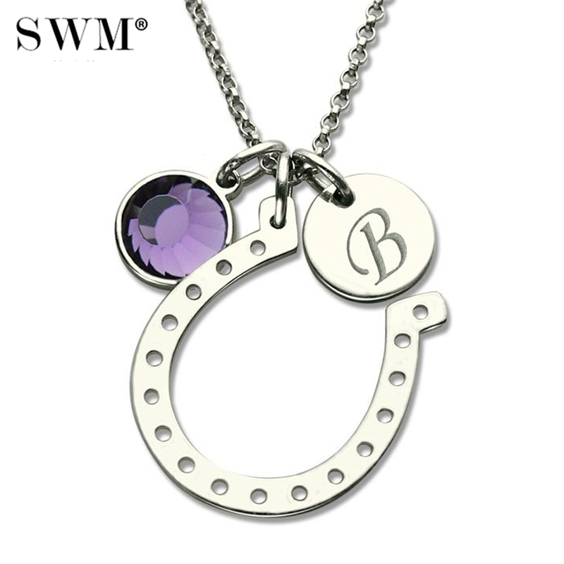 Women Costume Initial Chain Lucky Horseshoe Charm Necklace Custom Letter Crystal Stone Good Luck Horseshoes Necklaces Silver 925