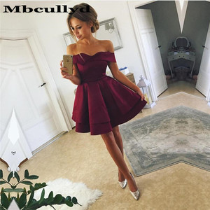 Mbcully Short Homecoming Dresses For Girls Sexy Off Shoulder A-Line Sleeveless Satin Ruffles Short/Mini Juniors Graduation Gowns