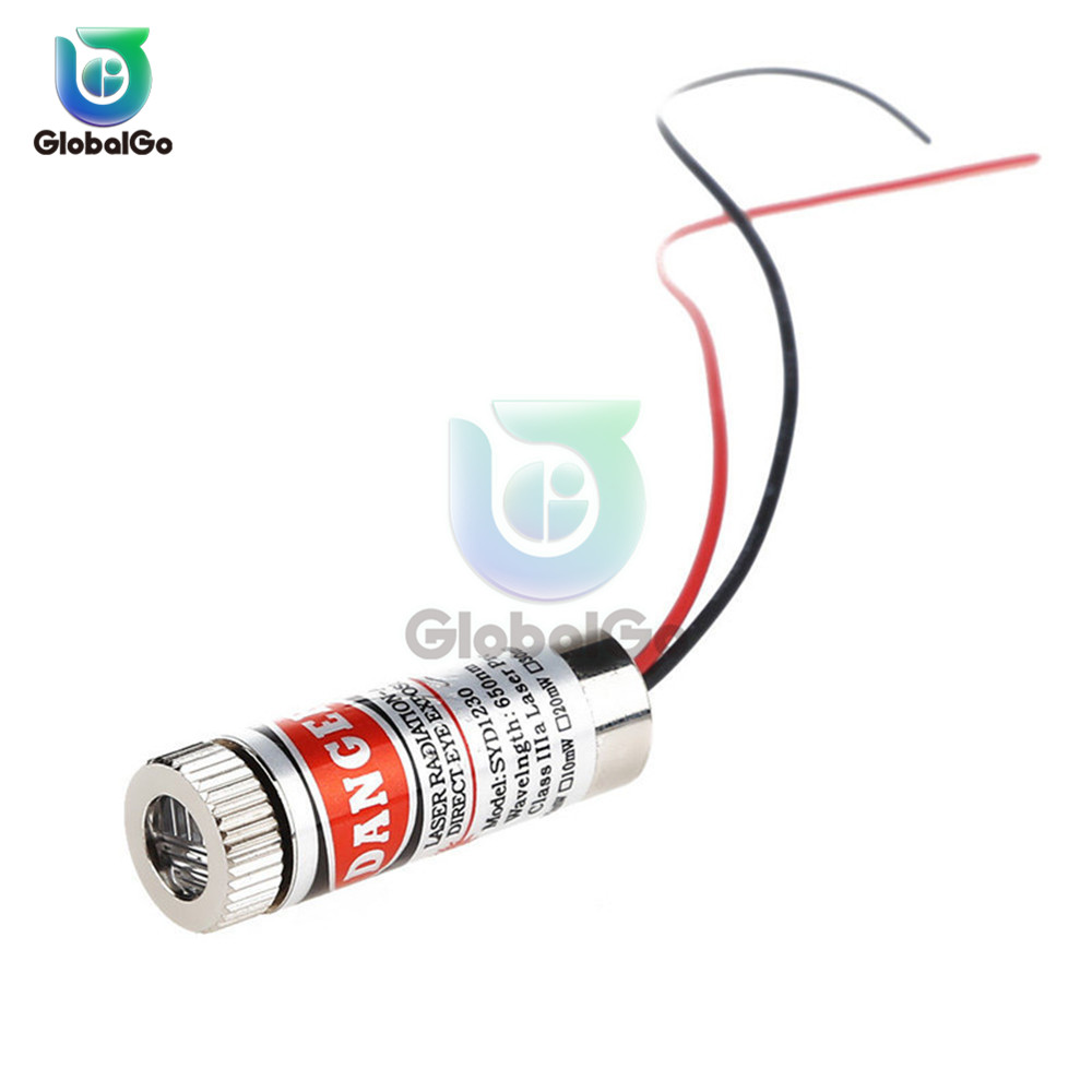 1pcs 650nm 5mW Red Point Line Cross Laser Module Head Glass Lens Focusable Industrial Class Adjustable Laser Dot Diode Module