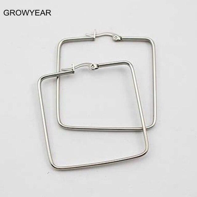 57dd3efe236d € 2.63 |Joyería de moda de Acero Inoxidable Pendiente 40mm Simple Hueco de  Plata Pendientes de Aro Cuadrados Para Las Mujeres Niñas en Pendientes ...