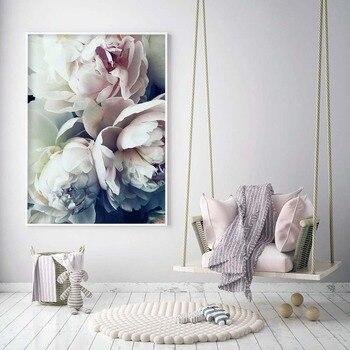 Decoración abstracta floración peonía pared nórdica arte lienzo póster e impresión flor lienzo pintura imagen para decoración de sala de estar