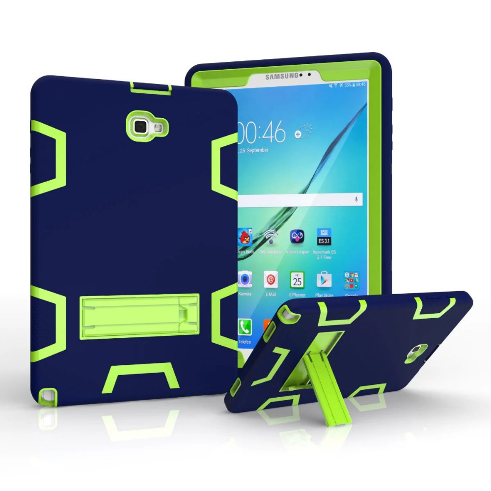 For Samsung Galaxy Tab A A6 10.1 With s-pen P580 P585 Case Cover Kids Safe Armor Shockproof Heavy Duty Kickstand Tablet Case tire style tough rugged dual layer hybrid hard kickstand duty armor case for samsung galaxy tab a 10 1 2016 t580 tablet cover