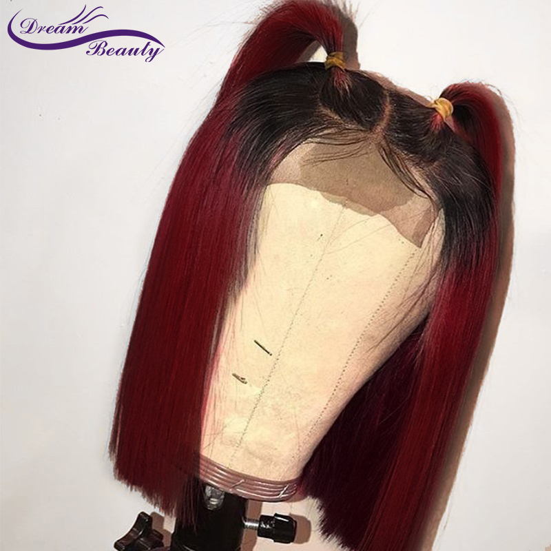 Human-Hair-Wigs Middle-Part Lace-Front Pre-Plucked Straight 99j Bob Short with Brazilian