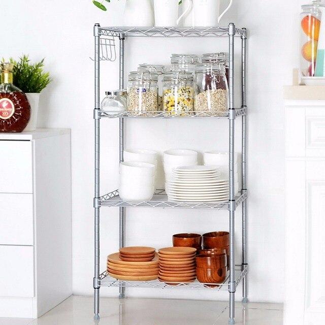 Homdox 100% Brand New 4 Shelf Storage Organizer Rack Kitchen Wire Shelving  Adjustable Height