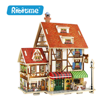 RobotimeF12X Woodcraft Construction Kit Assemble DIY Birthday Gift French Style Home Decor 3D Wooden Puzzle Toy
