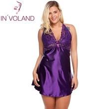 In'voland плюс Размеры Для женщин пикантные сна Ночные сорочки 5XL белье Ночная сорочка атласная сорочка большой платье трусы домашняя одежда для сна
