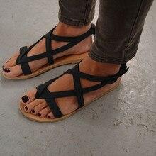 XingDeng Women Summer Fisherman Gladiatore Flat Heels Closs Strap Sandal