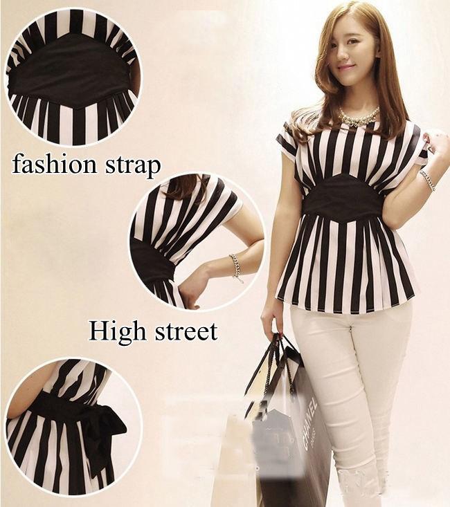HTB197KxQpXXXXXCXXXXq6xXFXXXp - New Spring Striped Print Chiffon Women Blouses Casual Tops Shirt