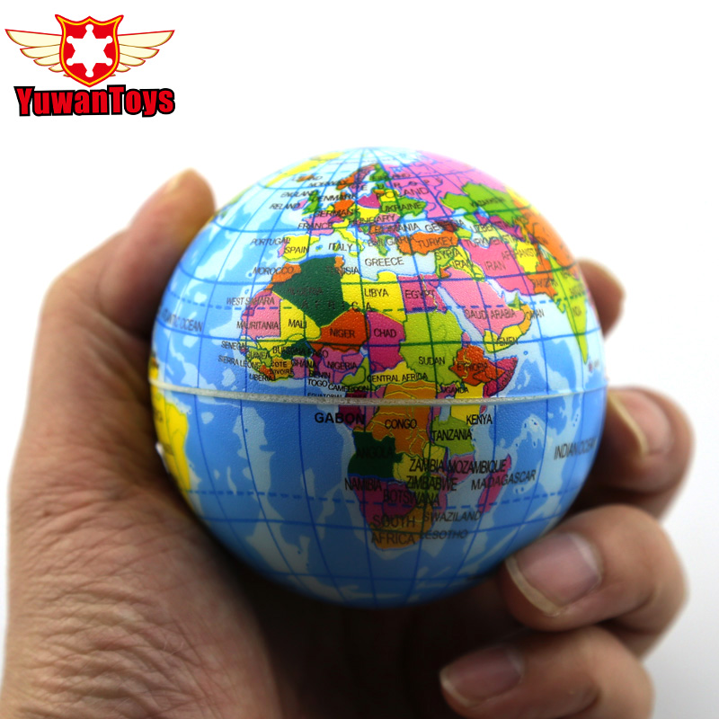 Hot Selling World Map Foam Earth Globe Hand Wrist Exercise Stress Relief Squeeze Soft Foam Ball Autism Mood Relief Healthy Toys