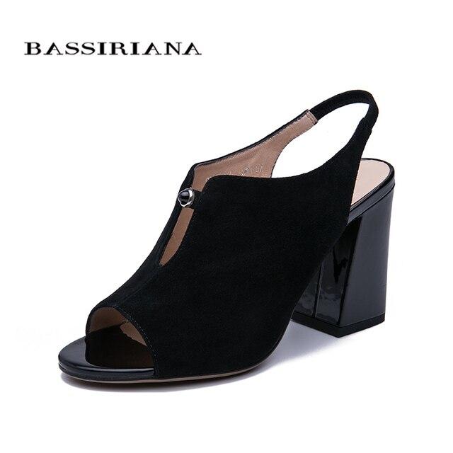 BASSIRIANA/2019 натуральная замша, обувь на высоком каблуке, Женская офисная обувь, сандалии-гладиаторы, женская летняя обувь без шнуровки, розовый, черный цвет