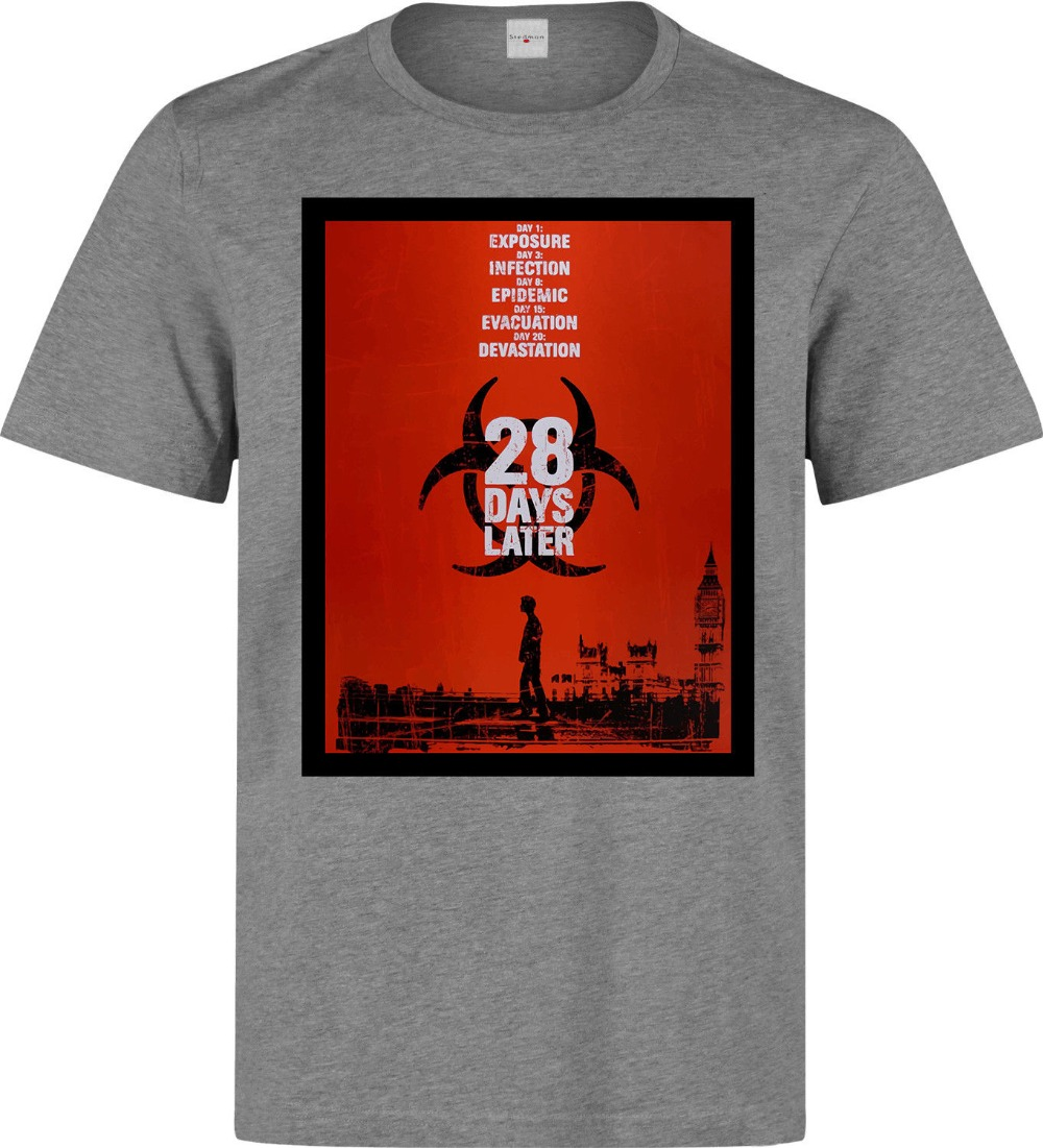 2019 New Fashion Brand Clothing <font><b>28</b></font> <font><b>Days</b></font> <font><b>Later</b></font> Movie Poster Artwork men's (woman's available) grey t shirt image