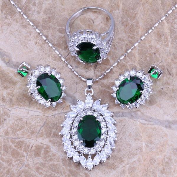 Green Cubic Cirkic Zirconia CZ Bizhuteri Argjendi vendos vathë varëse varëse për gra Madhësia 6/7/8/9/10 S0066