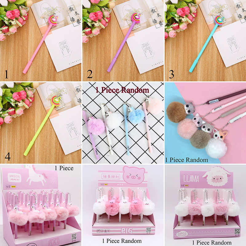 1pc rosa flamingo gel caneta bonito plush swan canetas para escola escrita menina presentes kawaii canetas neutras material escolar papelaria